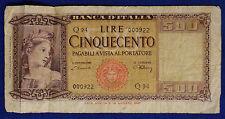 ITALIA ITALY  Cinquecento 500 Lire  Italia Ornata di Spighe 20.03.1947 #BI361