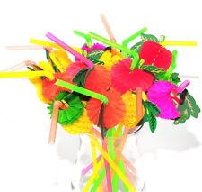 15 x Fruit Beach Party 3D Pink Flamingo Cocktail Drinking Straws Summer