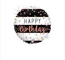 "Happy Birthday Rose Gold Dots 18"" Balloon Birthday Party Decorations"