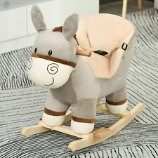 Cute Kids Ride-On Rocking Donkey w/ Sound Handlebars Seat Belt Plush Body