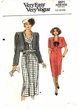 Very Easy Vogue Sewing Pattern Women's DRESS w/ OVERLAY 9371 Size 12-14-16 UNCUT