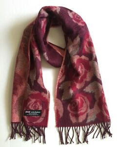 New Women's 100% CASHMERE SCARF MADE IN SCOTLAND Flora Rose Wine / berry / coral