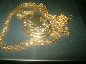 "9ct Gold Locket Fancy Scrolled Design and 9ct Gold 20"" Inch Chain"