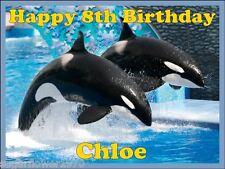 Personalizado Orca Orca Ballena Comestibles glaseado tarta de cumpleaños Topper Precortada
