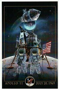 Apollo 11 NASA Moon Landing Neil Armstrong Buzz Aldrin Flag --- Modern Postcard