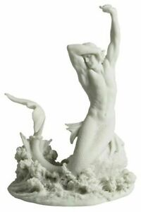 Merman Stretching On Rock Statue Sculpture Figurine *WELL MADE