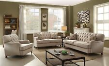 Aliza Contemporary Beige Button Tufted Living Room Sofa & Love Seat Set in Brown