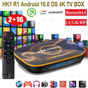 Android 10.0 HK1 R1 Dual WIFI BT 2+16G TV BOX Quad Core USB3.0 4K Movies RK3318
