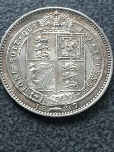 1887 Victoria sterling silver shilling coin .Excellent Detail