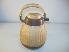 Corning Design Wicker Style Glass Lined Coffee Carafe Pitcher Bamboo Handle!