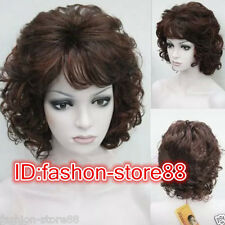 Fashion Charm Ladies Short Mix Red Brown Natural Hair Full Wigs Wig Cap