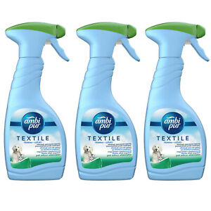 3 X Ambi Pur Febreze Fabric Freshener Spray Pet Odour Eliminator 500ml