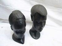 Pr Nigerian Ebony Wood Hand Carved Native Boy & Girl Bust Figures Child African