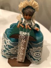 Vintage Brussels Bobbin Lace Making Woman Figurine Blue Dress on Wooden Chair