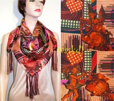 "CHRISTIAN LACROIX red ANGELS Celestial Charts TASSELS silk 34"" scarf NWT Authent"
