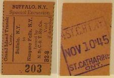 1945 Grand Island Special Excursion Ticket Buffalo NY -Niagara Falls NY NStC&TRy