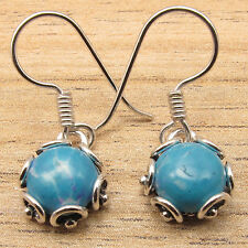 925 Silver Overlay Fancy Cabochon Simulated LARIMAR RETRO STYLE Earrings