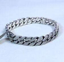 "David Yurman Men's Stippled Sterling Silver Curb Chain Bracelet 8.5"" $1050 NWT"