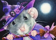 ACEO Limited Edition Print Halloween Costume Mouse Purple Witch Moon by J Weiner