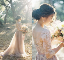 Vintage Champagne Country Wedding Dress Bohemian A line Custom Bridal Gown