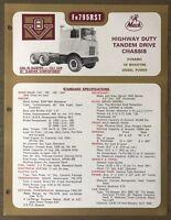 1972 Mack FR795RST original Australian sales brochure