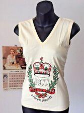 vintage old stock unworn cotton V neck disco vest ~ 1977 silver jubilee ~ S 8-10