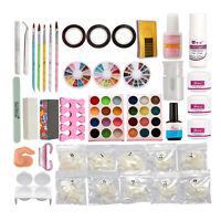 Full Acrylic Powder Liquid Glitter Primer Half Tips Nail Art Brushes Tool Kit