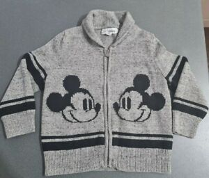 GAP grey knitted Micky Mouse zip up cardigan. Age 4. Excellent condition