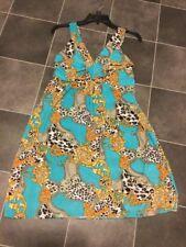 EUC BY ACE DESIGNS Leopard Scroll Flattering Silky Knit Dress Sz M