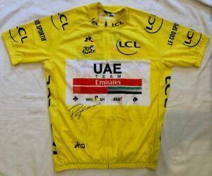 Tadej Pogacar signed 2020 Tour de France yellow cycling jersey UAE Team Emirates