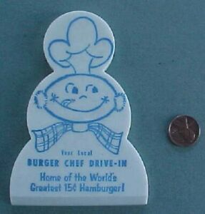 1960s Era Burger Chef restaurant diecut molded plastic ice scraper-Early mascot!