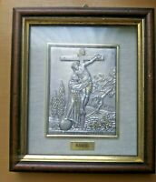 Saint Francis Framed Metal Plate, Italian Catholic Souvenir Francesco d'Assisi