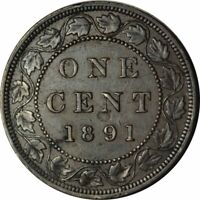 1891 LL LD Canadian Large Cent Variety - Very  Nice XF/AU! - d236dtdh