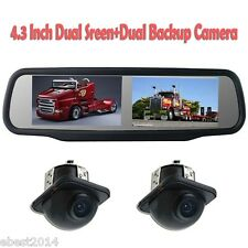 "4.3"" Dual Screen Car Rear View Mirror Monitor 4 Channel+2x Camera Night Vision"