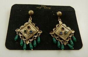 Vintage metal clip earrings temple lites