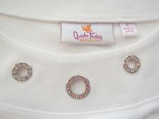 Quacker Factory L Stretch Knit Tunic Top Scoop Neck Cotton Rhinestone 18081313x