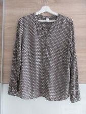 Edles Blusenshirt Bluse Tunika Gr. 42 brau grau taupe Minimalmuster