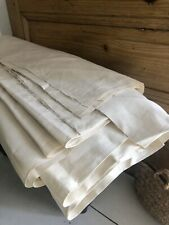 RARE antique French HEAVY floppy ECRU FIL OF LINEN fabric for SHEET c1900