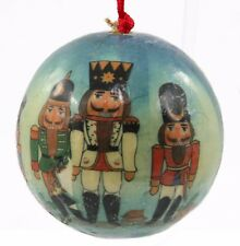 Paper Blue Yellow Nutcracker Ball Christmas Ornament Holiday Decoration