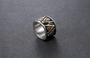 Stainless Steel FreeMason Freemasonry College Student Style AG Masonic Ring