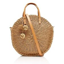 SPORTSGIRL Round Woven Tote Summer Beach Bag 045490 Honey with Tags