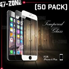 "For iPhone 6 6S Plus 5.5"" FULL COVER Temper Glass Screen Protector White 50PC"