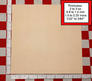 """8"""" x 8"""" Vegetable Tanned Cowhide 2 to 3 oz. Tooling Leather Piece, 1St. QLTY"""