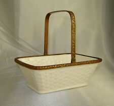 Antique WACHTERSBACH Ivory Porcelain Basket w/ Hinged Brass Handle (Germany)