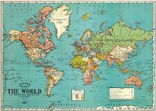 World Map circa 1948 Fine Reproduction on Parchment Paper 18x27 shrink wrapped