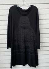 SULU KERSTIN BERNECKER Black Knit Buddha Print Dress Sz L