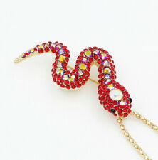 BETSEY JOHNSON GLITZY RUBY RED STONE SNAKE PENDANT/BROOCH - NEW WITH TAGS