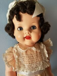 "Vintage Ideal Brunette Saucy Walker 22"" Doll  1950s"
