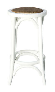Classic French Design Natural American Oak Timber White Bar Stool 75cm - 2x Pcs