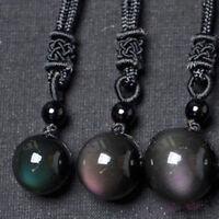 Lucky Black Obsidian Rainbow Eye Beads Ball Natural Stone Pendant & Necklace